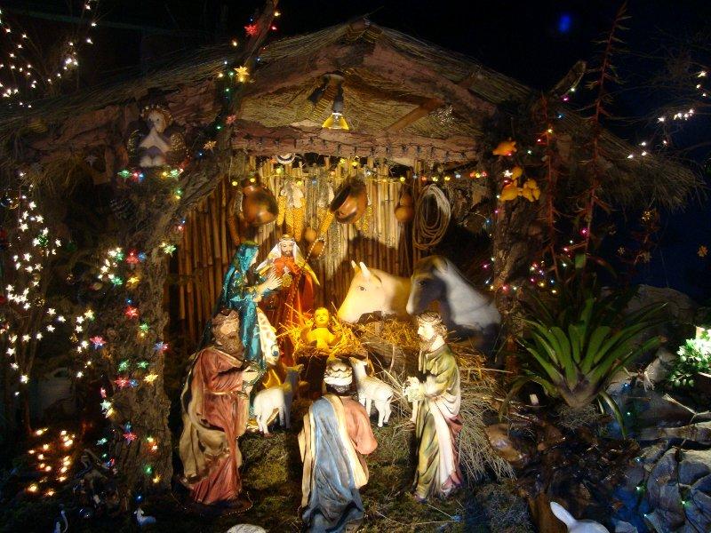 Làm hang đá Giáng sinh trang trí đèn lấp lánh