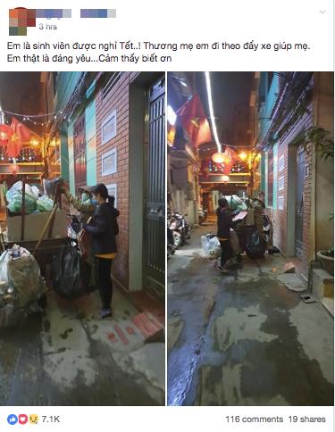 Chẳng xem pháo hoa hay đón giao thừa, cô con gái phụ mẹ đẩy chiếc xe rác cao ngất trong đêm 30 khiến nhiều người xúc động - Ảnh 1