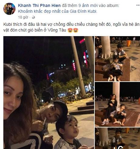 Mang thai ở tháng thứ 8, Khánh Thi không ngại vác bụng bầu to tướng đi ăn vỉa hè cùng chồng con - Ảnh 1