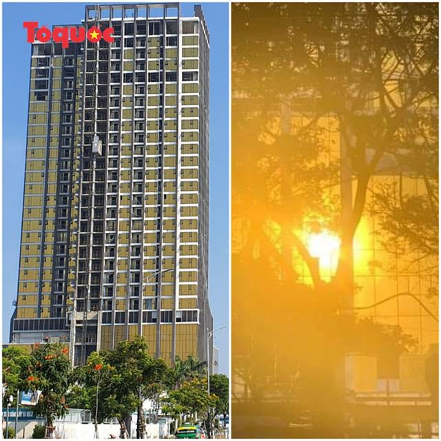 Hai tòa cao ốc ốp kính vàng phản quang gây chói mắt ở Đà Nẵng: Các chủ đầu tư tự ý lắp đặt kính màu vàng thay thế kính màu xanh - Ảnh 2