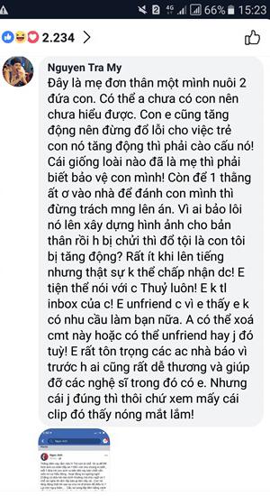 """Trà My Idol hủy kết bạn với Thu Thủy vì """"để một thằng ất ơ vào nhà đánh con mình"""" - Ảnh 3"""