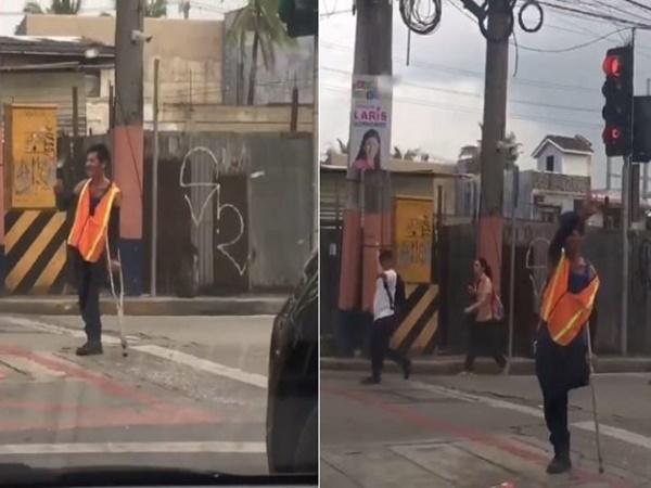 Clip người đàn ông khuyết tật điều khiển giao thông trên phố gây 'bão' mạng xã hội - Ảnh 1