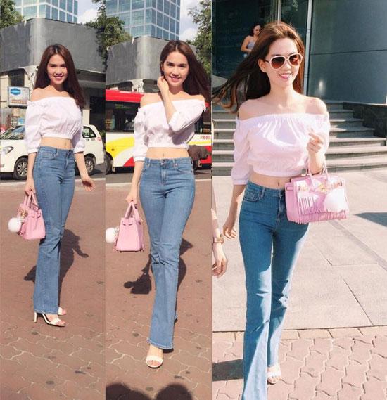 Quần jeans ống loe mặc cùng áo tay phồng là sự lựa chọn của nhiều người nổi tiếng