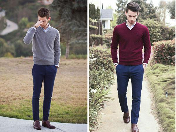 Áo sơ mi mặc cùng áo len luôn là lựa chọn trang phục dễ dàng nhất cho phái mạnh