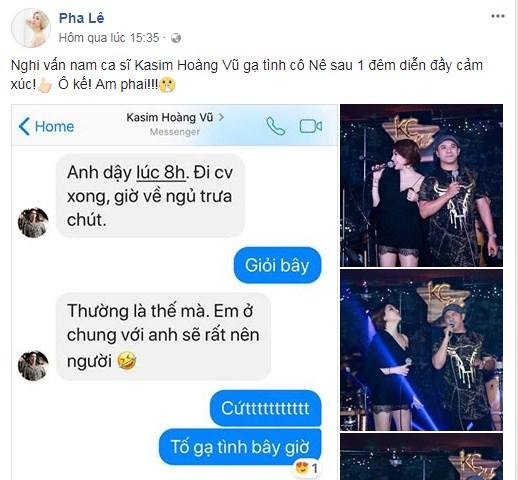 Nóng: Pha Lê công khai tin nhắn 'tố' bị Kasim Hoàng Vũ gạ tình - Ảnh 1