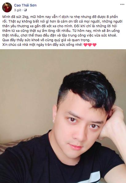 Cao Thái Sơn chia sẻ tình hình sức khoẻ sau cuộc phẫu thuật vì vỡ mạch máu mũi - Ảnh 1