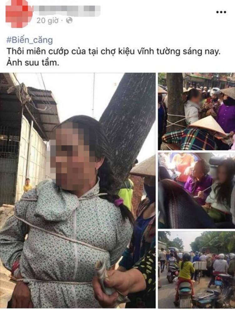 Sự thật vụ người phụ nữ nghi dùng thuật thôi miên để cướp của bị trói vào gốc cây lan truyền trên Facebook - Ảnh 1