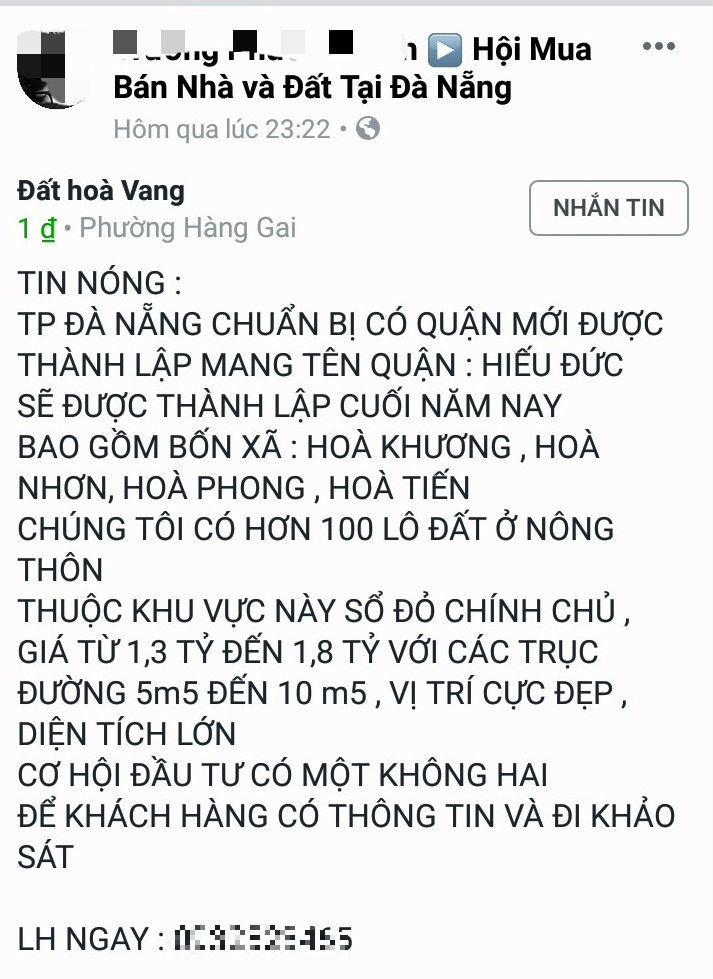 Cò đất lại giở trò, tung tin Đà Nẵng chia tách huyện Hòa Vang để thổi giá - Ảnh 1