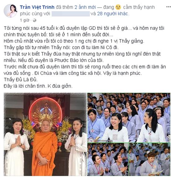 Sau hàng loạt biến cố lớn trong chuyện tình cảm, Việt Trinh tuyên bố: 'Tôi sẽ ở một mình suốt đời' - Ảnh 1
