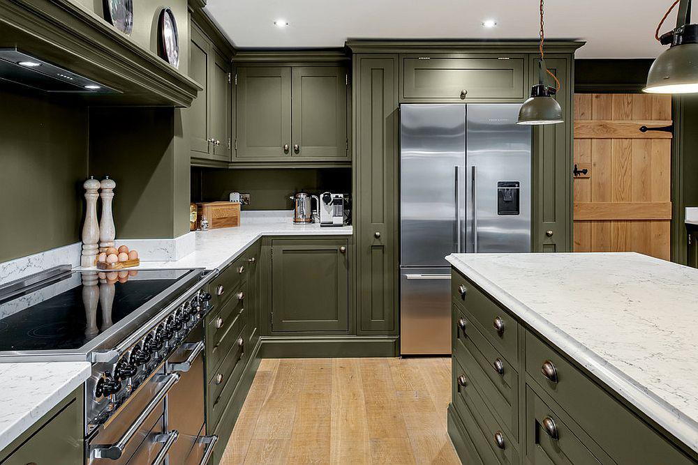 Những gam xanh tối màu tuyệt đẹp cho căn bếp hiện đại: Sạch, nổi bật và sang trọng khi kết hợp khéo léo với gam màu trắng và ánh sáng đèn trang trí - Ảnh 6