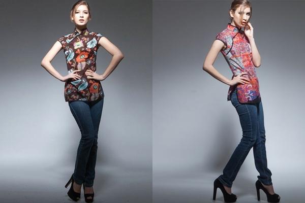 Cách mặc áo sườn xám đẹp với quần jeans