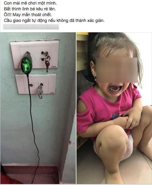 Để con chơi chìa khoá gần ổ điện, bố mẹ ân hận vì bé suýt bị tử thần đoạt mạng - Ảnh 1