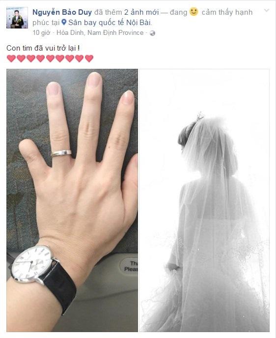 Bảo Duy đăng hình đeo nhẫn cưới và úp mở ảnh cô dâu sau khi ly hôn Phi Thanh Vân - Ảnh 1