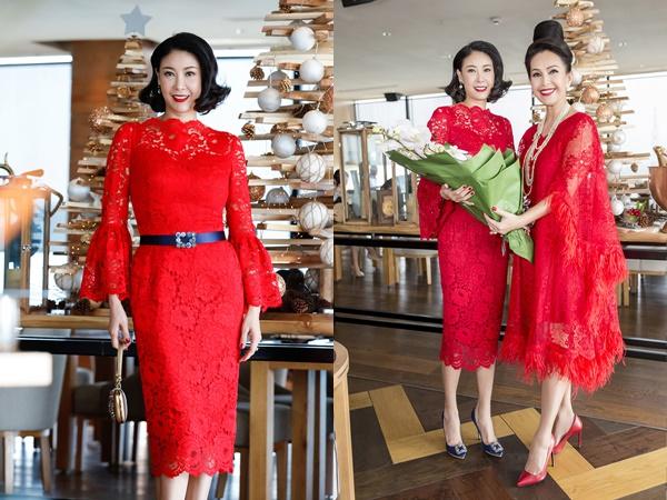Dàn 'người đẹp không tuổi' diện váy đỏ rực mừng sinh nhật Diễm My