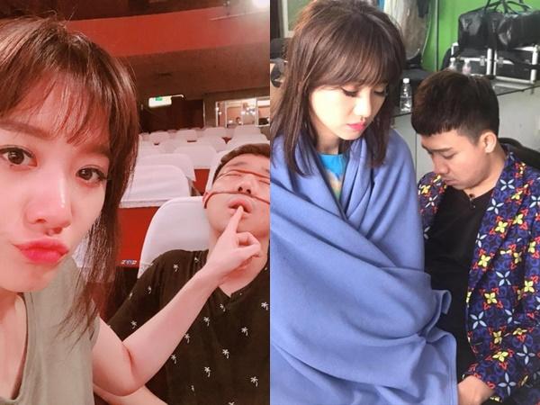 Hari Won 'bá đạo' ngồi hẳn lên đùi chồng để chụp ảnh 'dìm hàng'