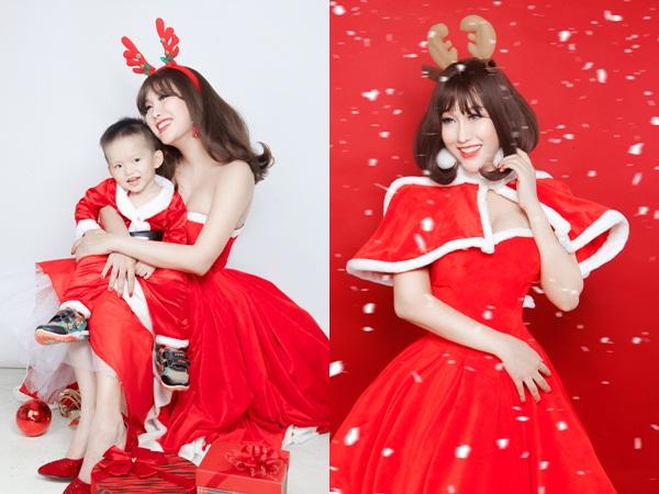 Phi Thanh Vân hóa thân thành 'bà già Noel' gợi cảm bên cạnh quý tử trong bộ ảnh mới