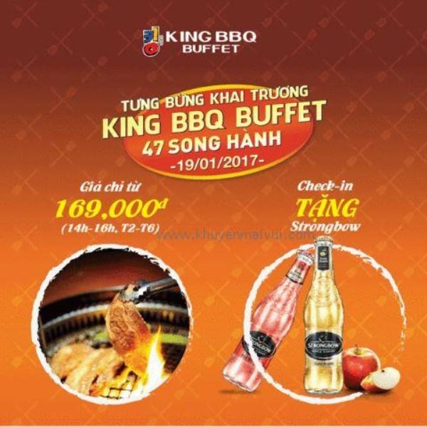Từ ngày 17/01 - 15/02 King BBQ Song Hành, Q.2 khuyến mãi giờ vàng giá shock, vòng quay may mắn, tặng Strongbow - Ảnh 1