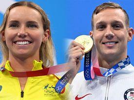 """Siêu sao sở hữu nhiều vàng nhất Olympic Tokyo: Hai """"kình ngư"""" Caeleb Dressel và Emma McKeon thắng đậm với màn trình diễn mãn nhãn người xem"""
