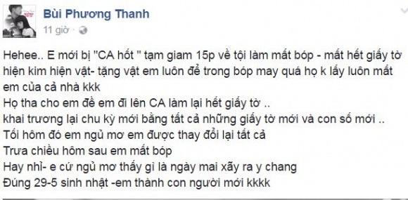 Ca sĩ Phương Thanh bị mất hết giấy tờ đúng ngày sinh nhật - Ảnh 1