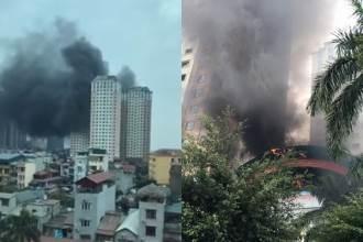 Hà Nội: Cháy tại khu đô thị Xa La, khói đen mù trời