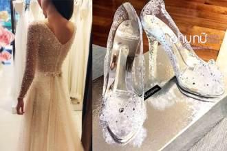Choáng trước váy cưới 10.000 viên pha lê, giày hiệu 50 triệu... của MC thời tiết Mai Ngọc