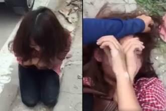 Nhắn tin thách thức vợ của người tình, cô gái trẻ bị đánh tơi tả, phải quỳ gối xin lỗi