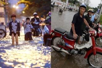 Cảnh người dân lội bì bõm vì triều cường ở Sài Gòn
