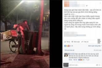Nghẹn lòng hình ảnh cha nghèo địu con nhỏ ngủ trên lưng đi bới rác trong đêm đông rét mướt