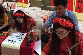 Xuất hiện cô đồ xinh xắn, cho chữ thư pháp tại Bắc Giang