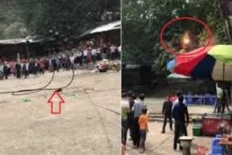 Clip: Chập điện đường dây tại chùa Hương, du khách la hét hoảng loạn