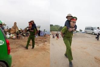 Hình ảnh đẹp: Chiến sĩ cảnh sát cõng người đàn ông cụt 2 chân lên sân chùa trên núi