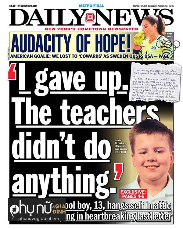 Lá thư trước lúc treo cổ của cậu bé 13 tuổi gây 'rúng động' toàn nước Mỹ - Ảnh 1