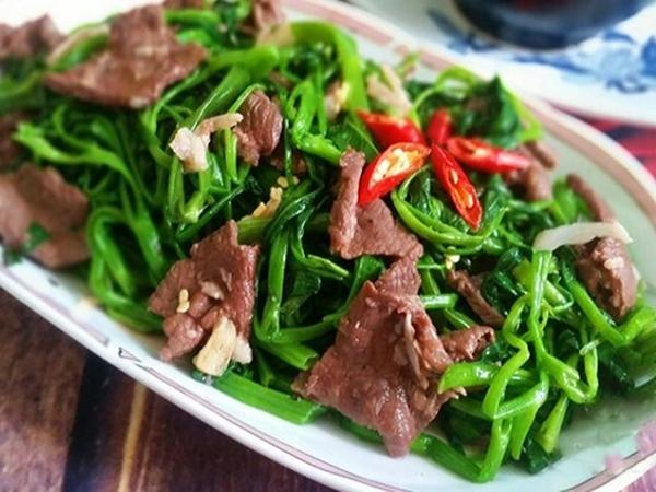Cách làm rau muống xào thịt bò, món ăn quen thuộc nhưng không phải ai cũng biết