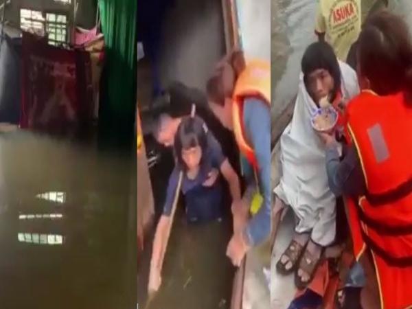 Ứa nước mắt cảnh 2 người dân run cầm cập vì nhịn đói nhiều ngày trong căn nhà ngập nước
