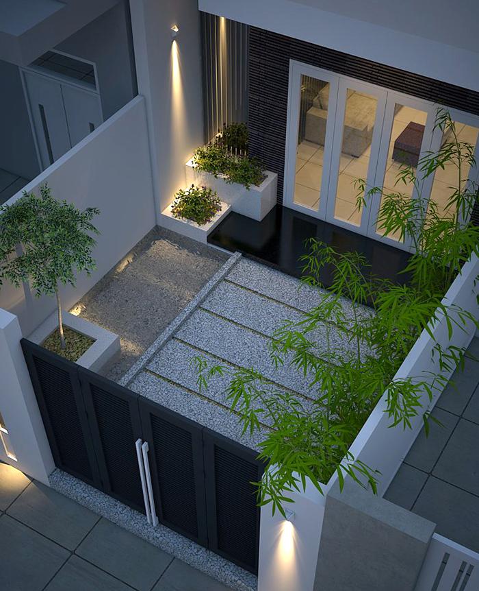 Bố trí tiểu cảnh xanh mát đẹp tự nhiên giúp không gian nhà đẹp 2 tầng gần gũi với thiên nhiên