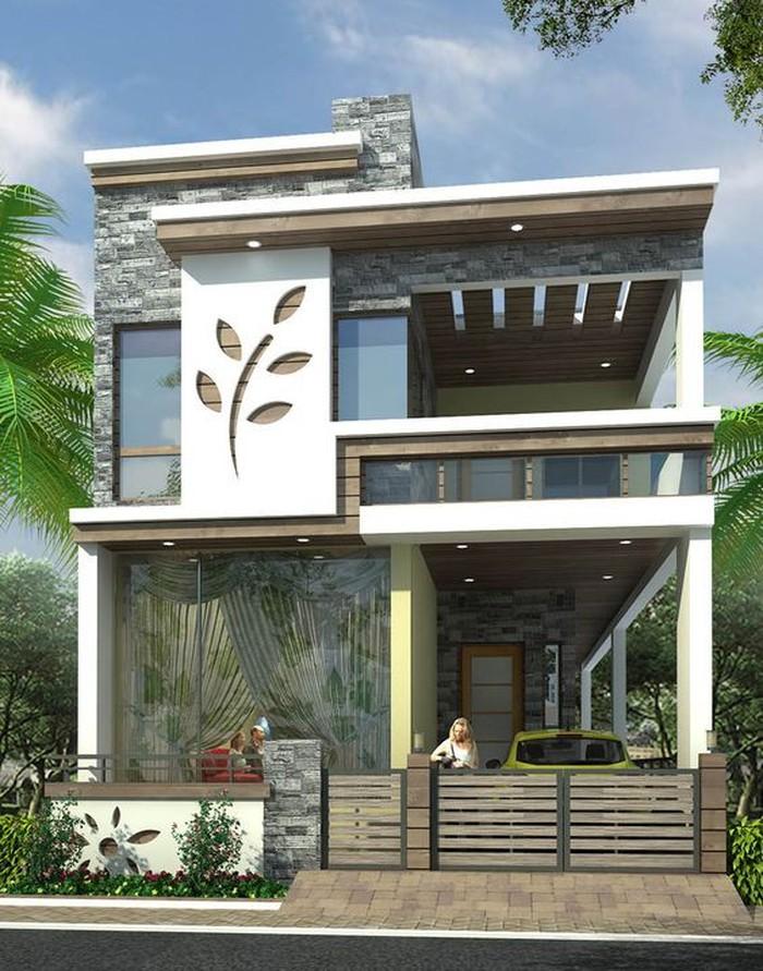 Phần gạch ốp trang trí ngoài mặt tiền giúp ngôi nhà thêm phần bắt mắt