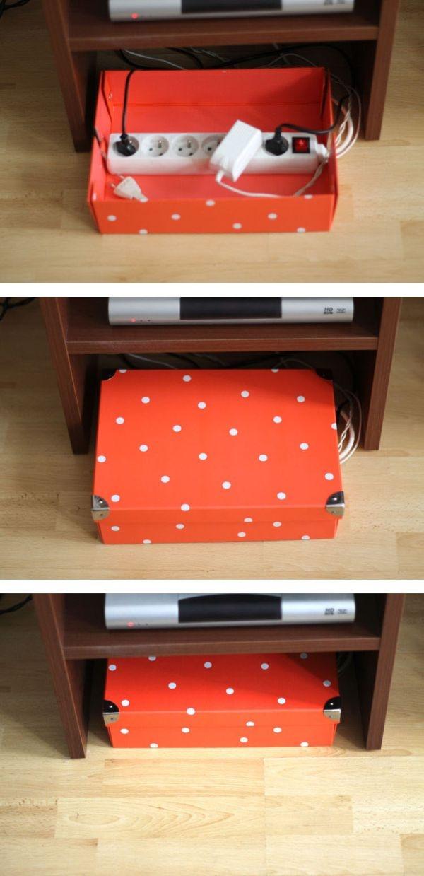 Dùng hộp đựng quà xinh xắn để giấu đi các ổ điện