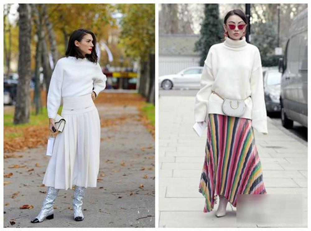 Chân váy xếp ly cổ điển kết hợp áo len màu trắng
