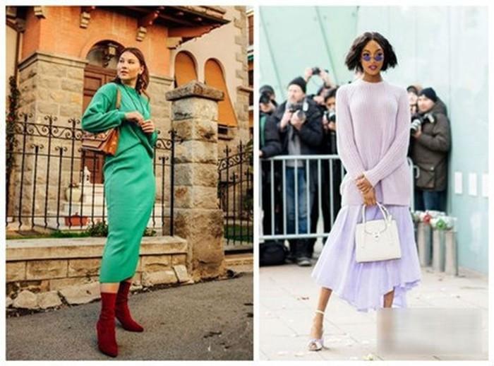 Kết hợp áo len và chân váy cùng tông mang đến kiểu dáng thời trang, trẻ trung