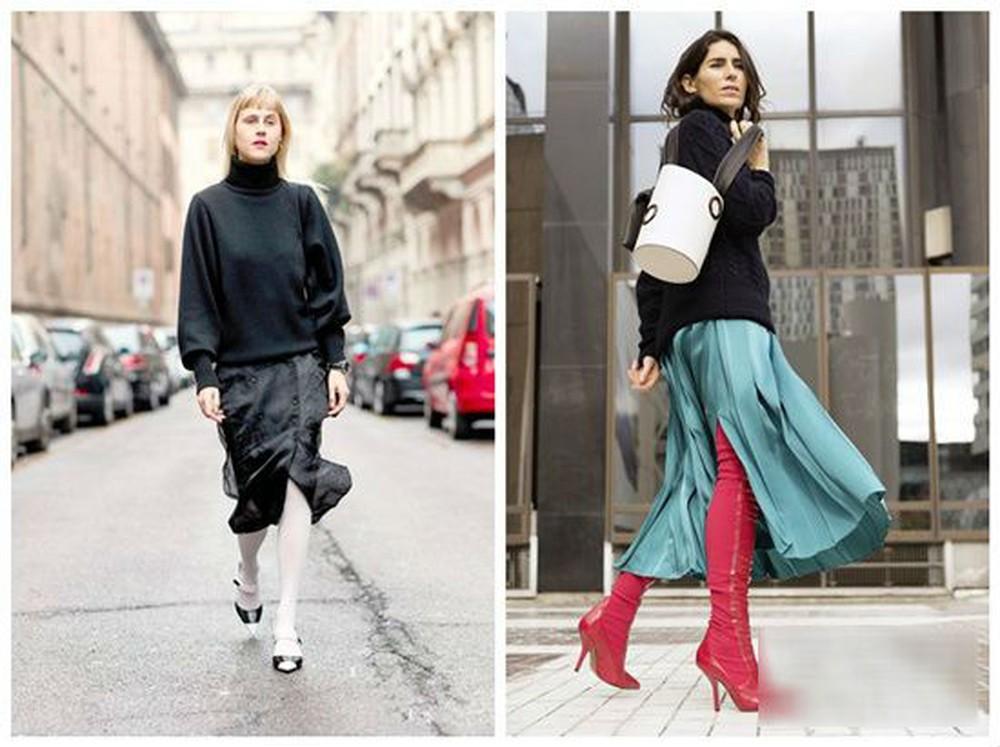 Áo len đen kết hợp chân váy xẻ tà