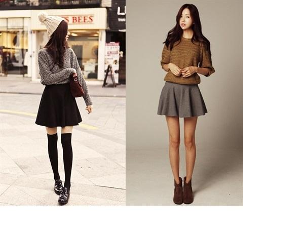 Cách phối áo len với chân váy xòe cực nữ tính