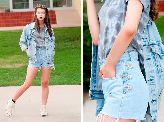 Mix quần short denim cạp cao với những chiếc áo thun ngắn tay cùng giày converse cao cổ