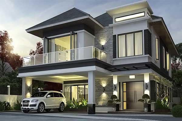 Mẫu thiết kế nhà 2 tầng mái Thái hiện đại, đẳng cấp
