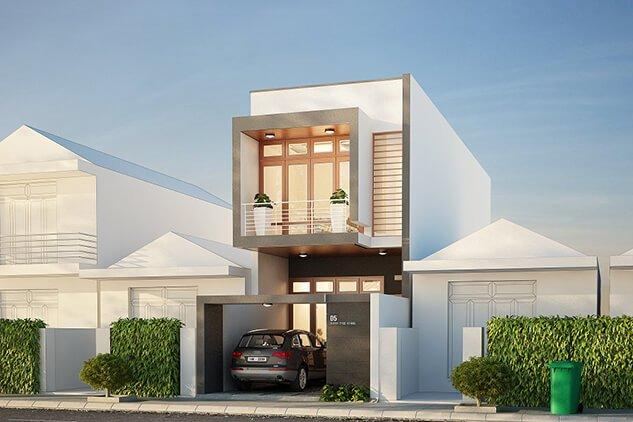 Mẫu thiết kế nhà 2 tầng mái bằng đơn giản mà sang trọng