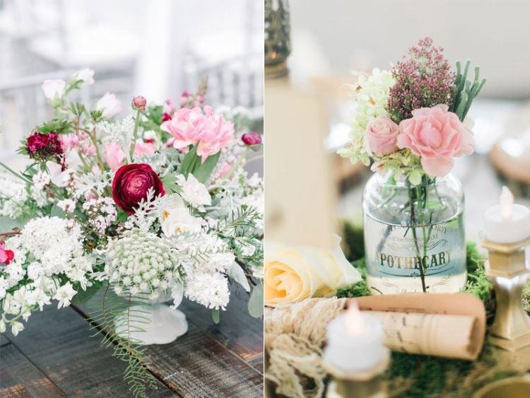 Cách cắm hoa để bàn cưới phải thậtđơn giản, tự nhiên