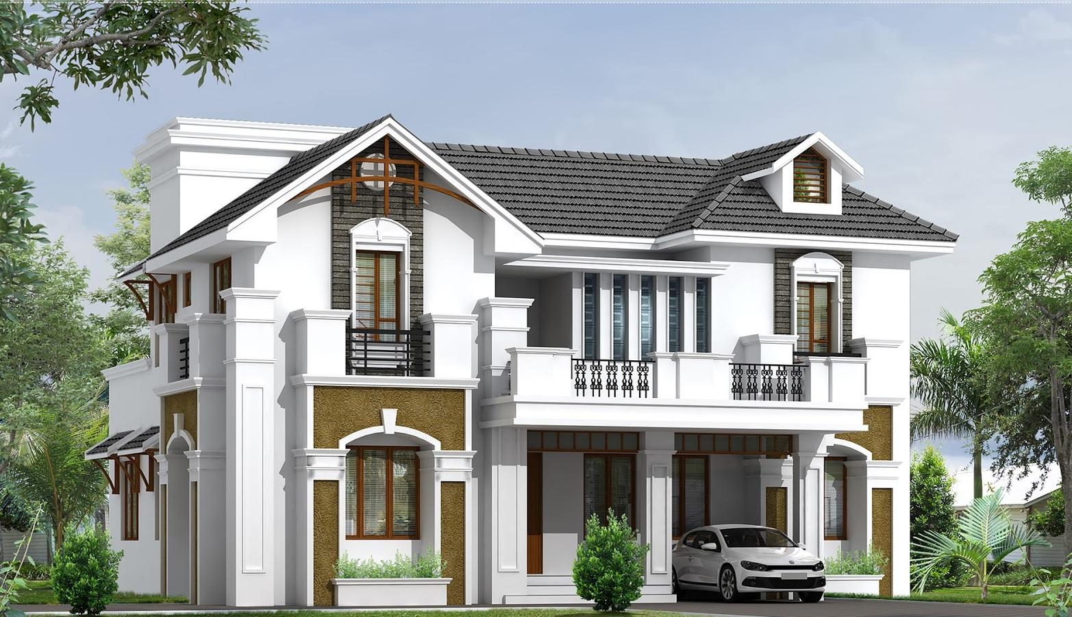 Mẫu nhà 2 tầng mái thái đẹp bán cổ điển vừa có phong cách hiện đại vừa toát lên nét văn hóa truyền thống cổ điển