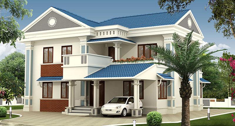 Thiết kế nhà 2 tầng mái thái kiểu Châu Âu