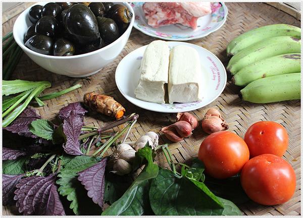 Nguyên liệu nấu bún ốc chuối đậu