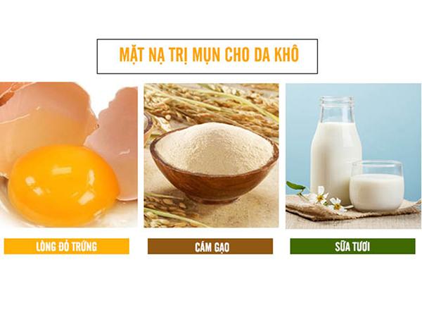 Cám gạo, lòng đỏ trứng gà và sữa tươi là loại mặt dưỡng da khô hiệu quả