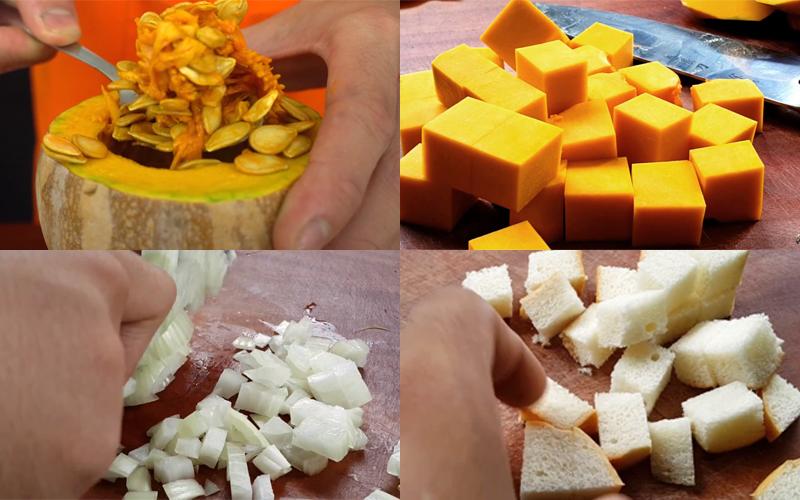 Sơ chế các nguyên liệu nấu món súp bí đỏ ngon miệng